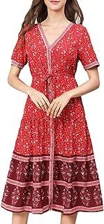 Kuty Woman Dress,Women's Bohemian Embroidery Floral Dress, Summer Dress, Stripe Dress,Strap Button Down Casual Loose Plus Size