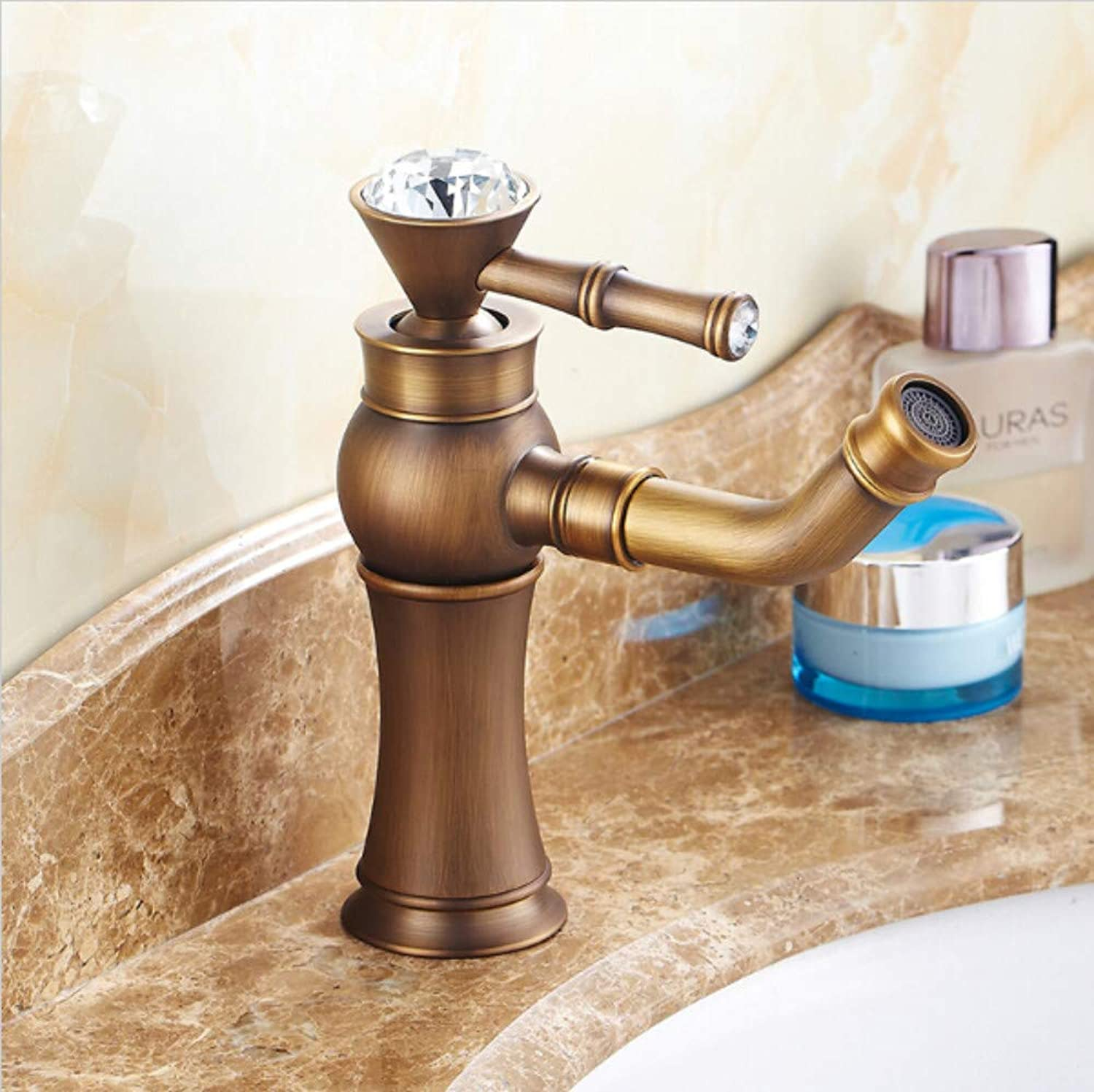 Bathroom Sink Tap Antique Brass and Crystal Handle redable Spout Bathroom Basin Brass Faucet Mixer Tap