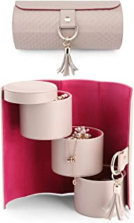 Vlando Travel Jewelry Roll Portable Storage Organizer Roll Faux Leather Travel Accessory Jewelry Box Organizer Display Sto...