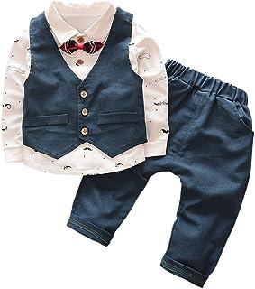 (ベビーゴー)babygo 子供服 結婚式 男の子 フォーマルスーツ ベスト&長袖ポロシャツ&パンツ 3点セット