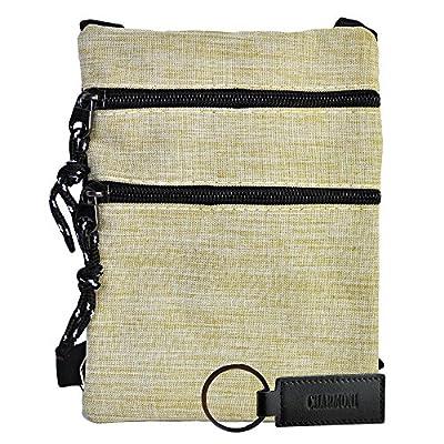 Charmoni® - Sac pochette plate sacoche à bandoulière et sa porte clé cuir léger et résistant en Nylon