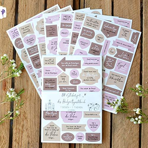 Stickerbögen Hochzeits-Gästebuch 184 Sticker für Hochzeit, Aufkleber mit Fragen Sprüche Motiven