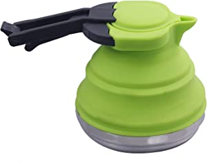 Dltsli 1.2L Green Portable Silicone Collapsible Tea Kettle Outdoor Camping Travel Kettle Foldable Pot