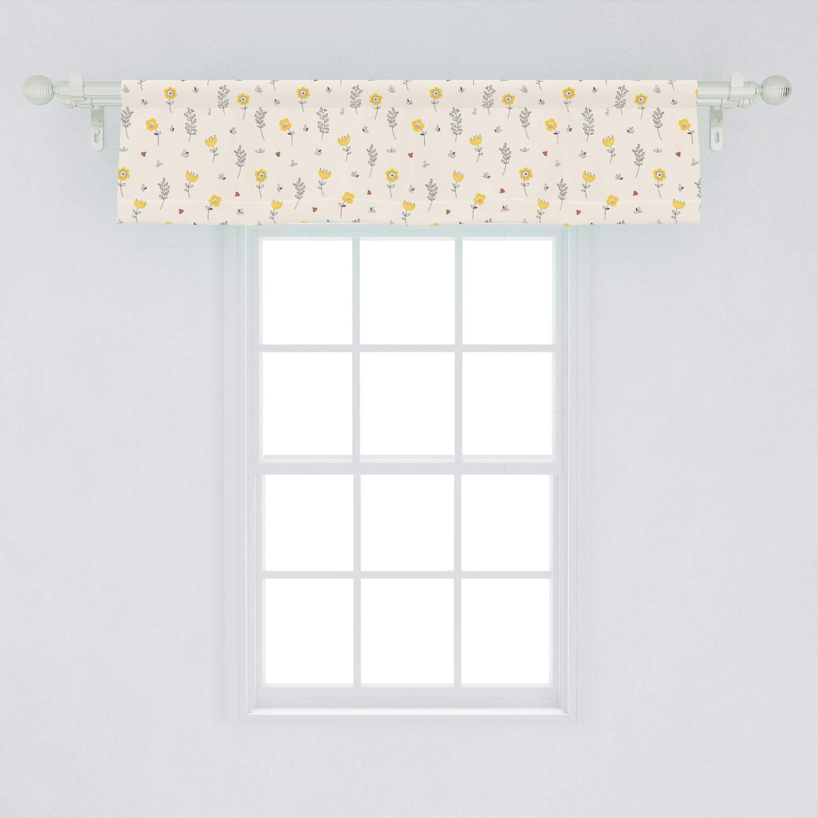Lunarable Floral Window Valance Contour Flowers Leaves And Tiny Ladybugs Pattern Spring Flora Theme Curtain Valance For Kitchen Bedroom Decor With Rod Pocket 54 X 12 Champagne Yellow Home Kitchen