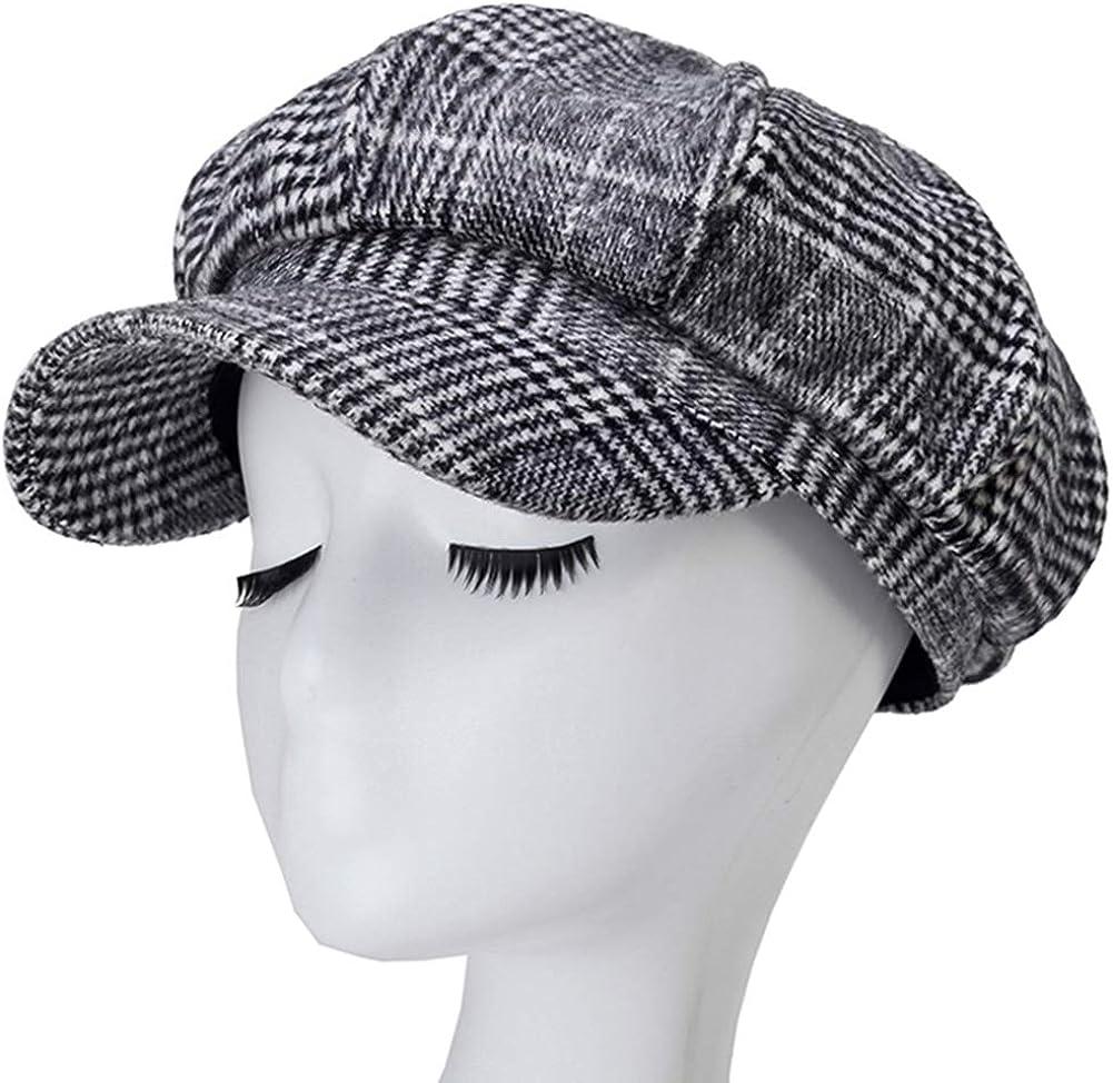 MAGIMODAC Damen Schirmmütze Wintermütze Wollmischung Ballonmütze Barett Mütze mit Schirm Verstellbar Plaid Kaffee