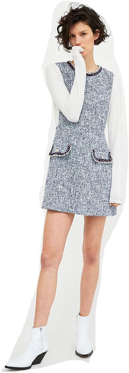 Woman Flecked Dress Navy/White Vintage Style
