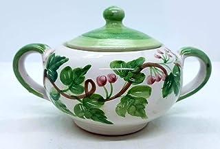 Zuccheriera Linea Edere Verdi Bacca Rossa Realizzata e Dipinta a mano Le Ceramiche del Castello Made in Italy 16 x 9 cm