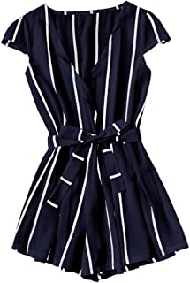 Women's Casual Vertical Striped Jumpsuit Romper with Belt