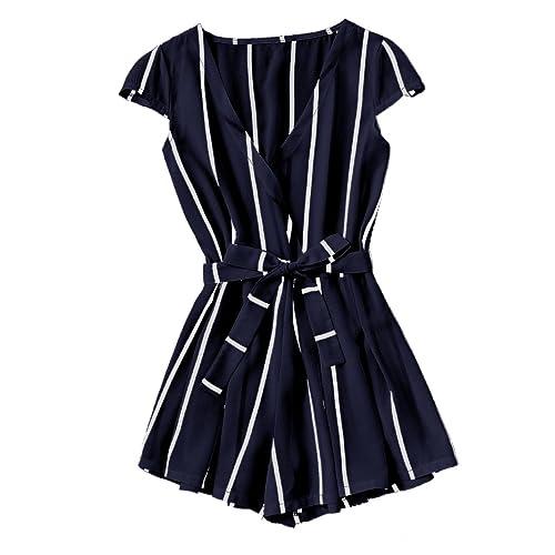 8fe365f4c4 Romwe Women s Casual Vertical Striped Jumpsuit Romper with Belt