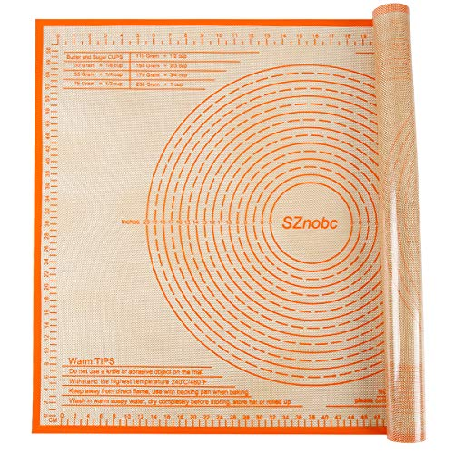 Extra Large Silicone Pastry Mat Nonstick Dough Mat with Measurements 24'' By 36'' Perfect for Bread Kneading Mat, Dough Rolling Mat, Fondant Mat, Pie Crust Mat, Cake/Cookies/Pizza Mat