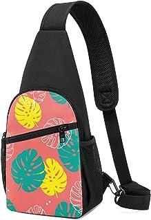 Patrón floral sin costuras de hojas tropicales en estilo plano, mochila ligera para el hombro, mochila cruzada, bolsas de ...