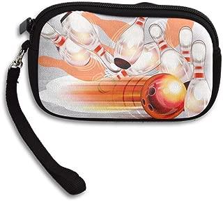 RobotDayUpUP Bowling Ball Transparent Shining Wristlet Clutch Bag Handbag Zipper Purse Wallet With Strap