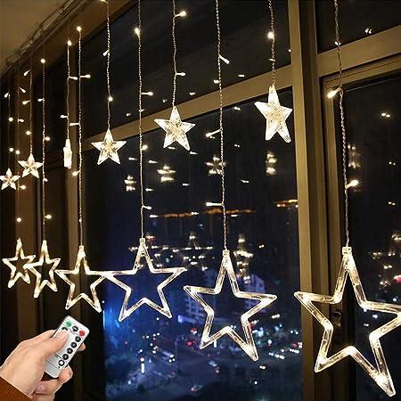 イルミネーションライト ストリングライト USBと電池式 クリスマスライト 星型装飾ライト 2.5m 138LED カーテンライト フェアリーライト リモコン 8種類の切替モード 電池式 透明蛍光灯 ウォームホワイトの光 ledに適してベッドルーム|アウトドア|結婚式|庭対応|誕生日