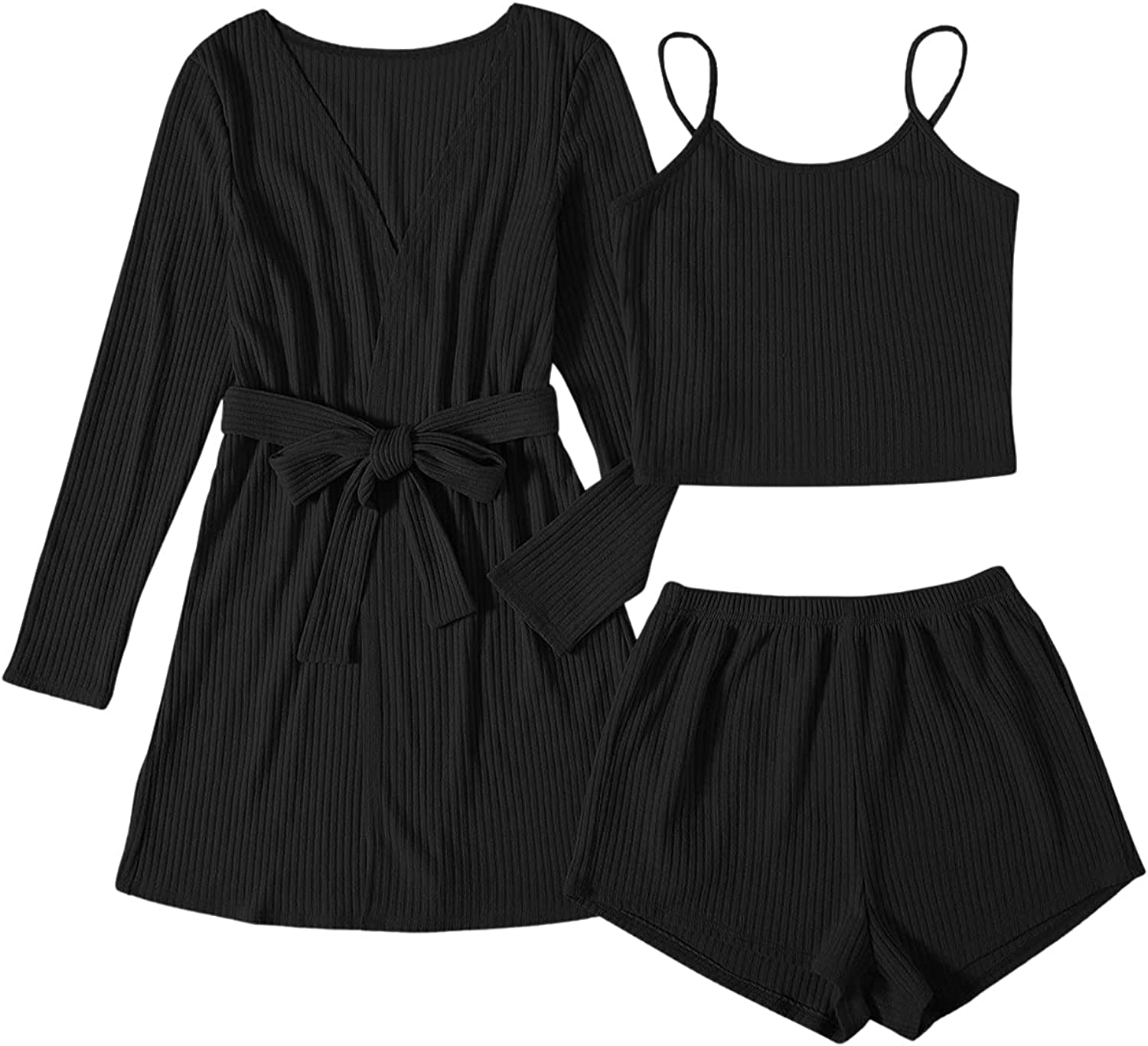 SheIn Women's Plus 3pcs Cami Shorts Ribbed Pajama Set with Long Sleeve Belted Robe