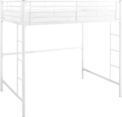 Walker Edison Orion Urban Industrial Metal Double over Loft Bunk Bed, Full Double, White & Orion Urban Industrial Metal Double Over Loft Bunk Bed, Full Double, Black