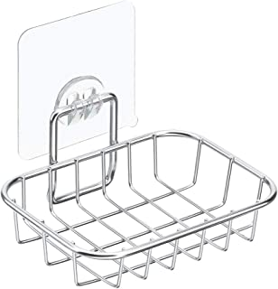 SANNO Adhesive Soap Dish Bathroom Holder, Bar Soap Sponge Holder for Shower, Bathroom - Rust Proof Stainless Steel