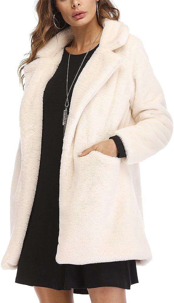 NEW before selling Winter Faux Fur Coat Very popular for Women Lapel Long Ca Warm Outwear Sleeve