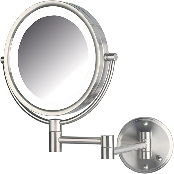 Jerdon HL88NLD 8 5 Inch LED Lighted Direct Wire Direct Wire Makeup Mirror With 8x Magnification Nickel Finish