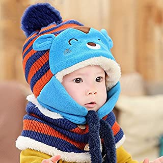 Calli Toddler Girls Boys Baby Winter Beanie Warm Hat Hooded Scarf Knitted Wool Cap