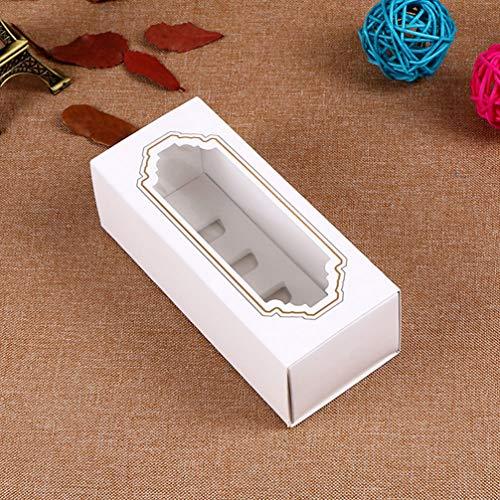NUOBESTY Cajas de Macaron de 12 Piezas Contenedores de Macarons Manga Blanca con Ventana Transparente para 5 Macarons Contenedor de Papel de Pastel para Regalar (Tamaño S 5 Cavidades)
