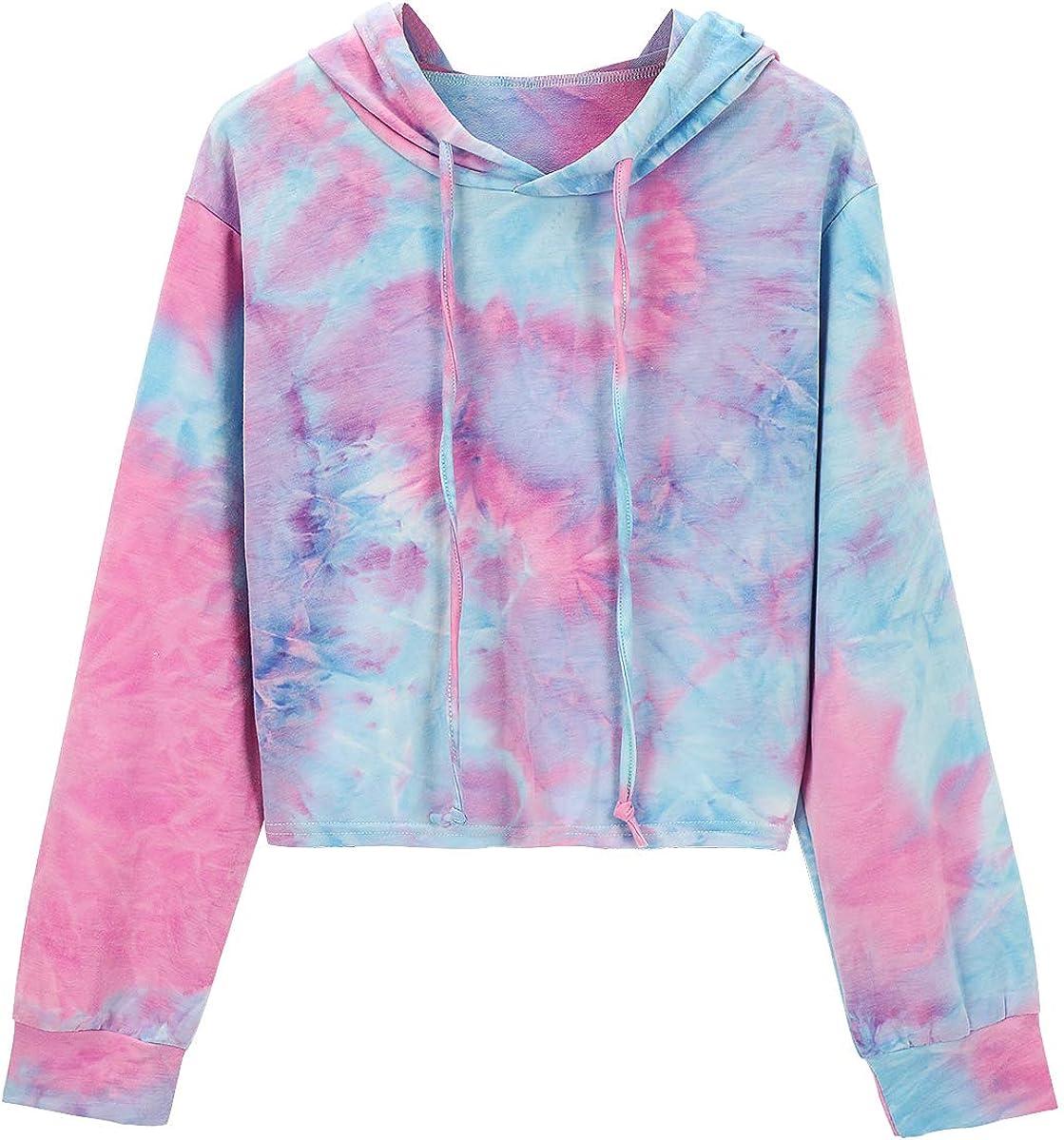 MYHALF Women Tie Dye Long Sleeve Crop Top Casual Drawstring Sweatshirt Fashion Crop Hoodie