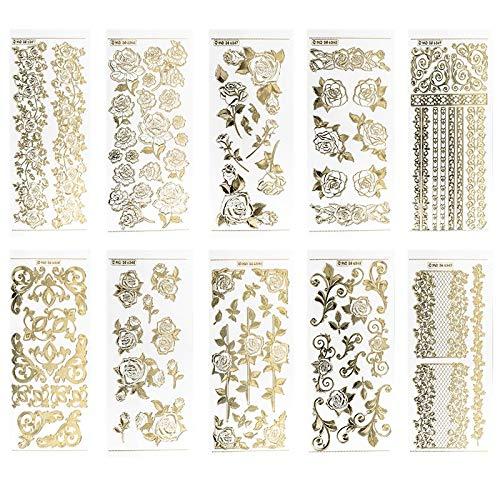 Ideen mit Herz Gravur-Sticker, transparent/Gold, 10 Bogen à 10 x 23 cm | Goldene Aufkleber zum Basteln & Dekorieren | Geburtstag, Weihnachten, Rente & mehr (Rosen)