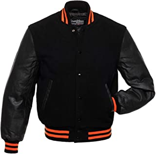 plain varsity jackets with leather sleeves