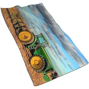 N//A Serviette de Bain Douce Motif Tracteur Bleu Ciel 70 x 44 cm