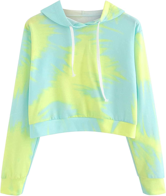 Hotkey Hoodies for Women, Womens Crop Tops Sweatshirt Tie Dye Print Pullover Casual Loose Long Sleeve Tops for Teen Girls