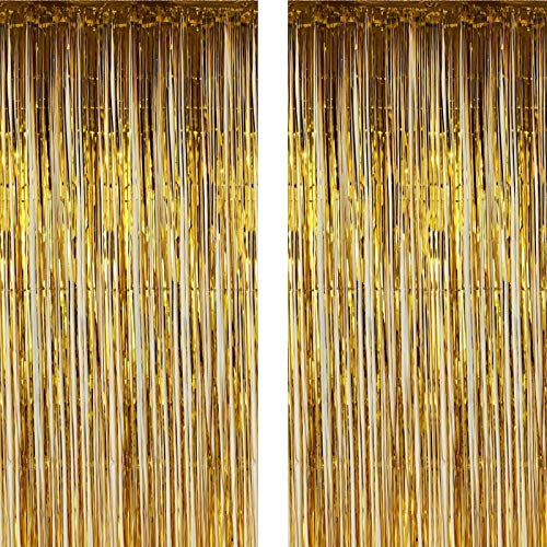 Twinkle Star 2 Pack Photo Booth Backdrop Metallic Tinsel Foil Fringe Curtains Environmental Background for Birthday Wedding Party Christmas Decorations (Gold)