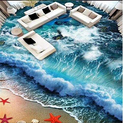 Etiqueta engomada del azulejo Calcomanía Hogar Baño Dormitorio Piso Autoadhesivo Papel tapiz 3D Olas de playa Surfing Azulejos de piso 3D Pintura Murales de suelo 3D-350 * 245Cm Decoración para niño