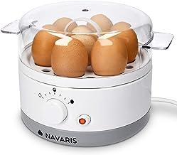 Navaris Cuiseur à Œufs Électrique - Appareil Vapeur sans BPA pour 1 à 7 Œufs - Œuf à la Coque Mollet ou Dur - Doseur et Pe...