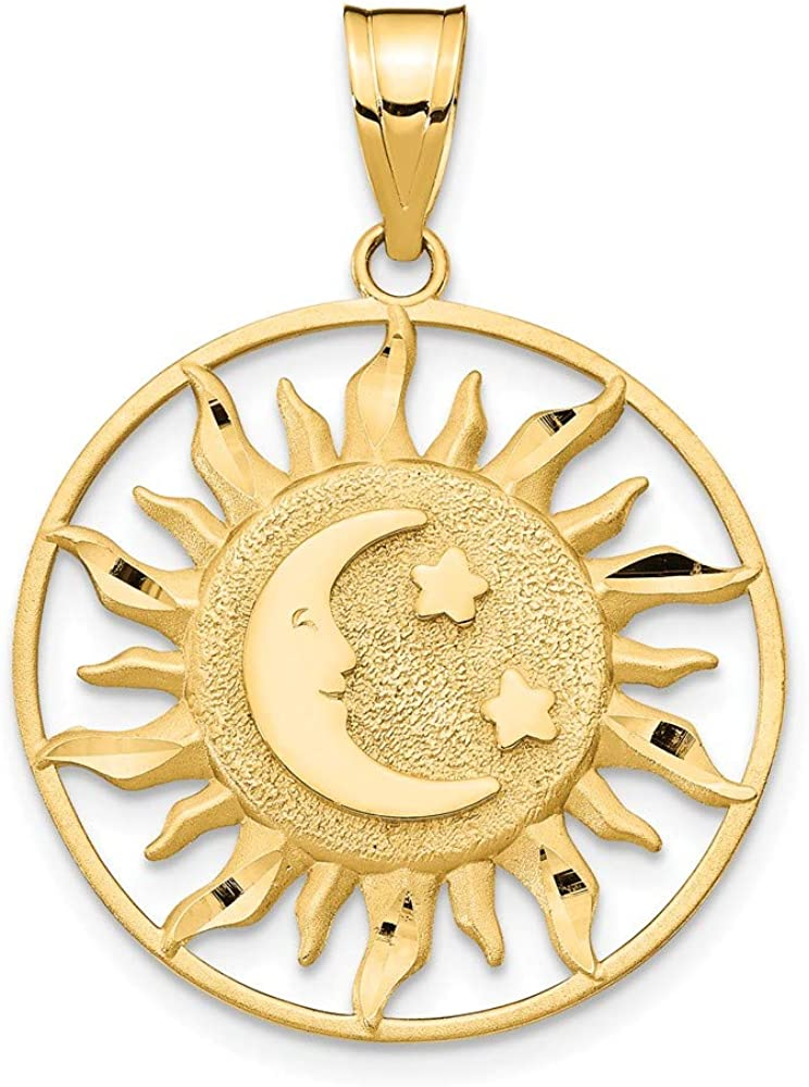 Solid 14k Yellow Gold Polished Sun with Moon & Star Pendant Charm (22mm x 31mm)