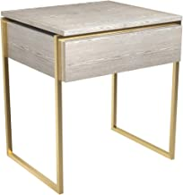 GillmoreSPACE Side Table Drawer - Weathered Oak With Brass Frame