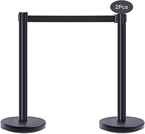 """wholesale Stanchion Post Crowd Control Barrier with 6.5' 2021 Retractable Belt, Stainless Steel Stanchion Posts Queue Pole, 35"""" Height, discount Easy Connect Assembly(2-Pack) outlet sale"""