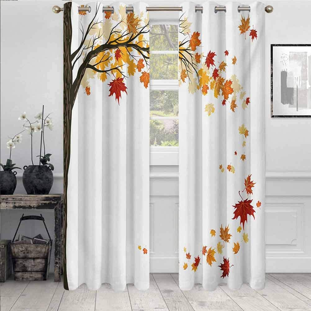 ScottDecor Special Campaign Fall Modern NEW before selling Decorative Drapes Bathroom for Group Leaf