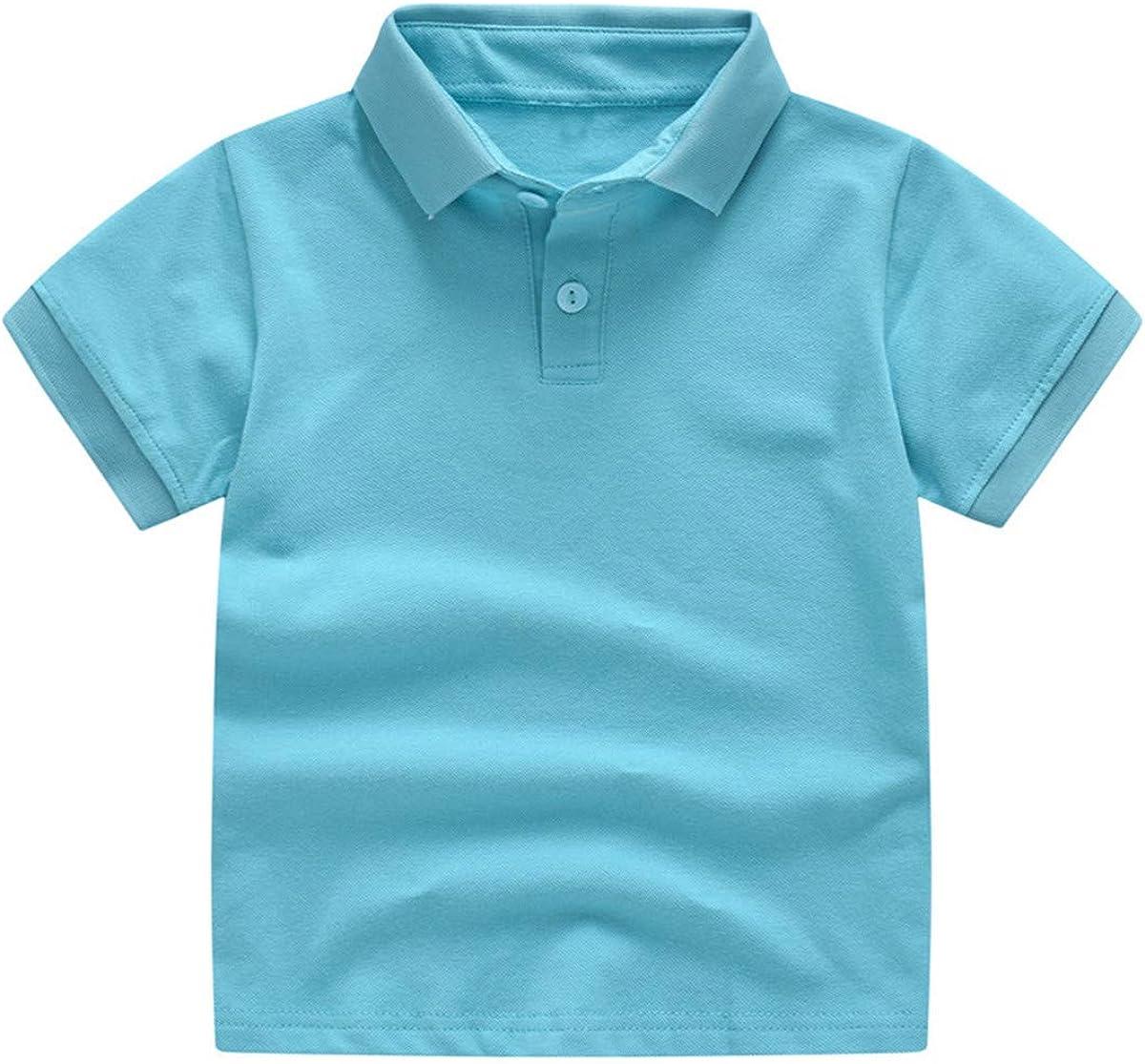RACHAPE Boys' Short Sleeve Pique Polo Children's Solid Deck School Uniform Shirt