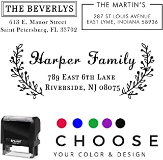 20 Designs to Choose!! Personalized - Address Stamp - Customized Stamp - Self-Inking Return Address Mail 3 Lines Custom Address Stamper - Black Red Blue Purple Green Ink - Wedding Invitation Stamp
