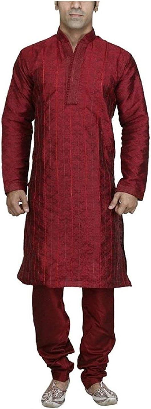ROYAL Men's Maroon Designer Jacquard Pintex Sherwani