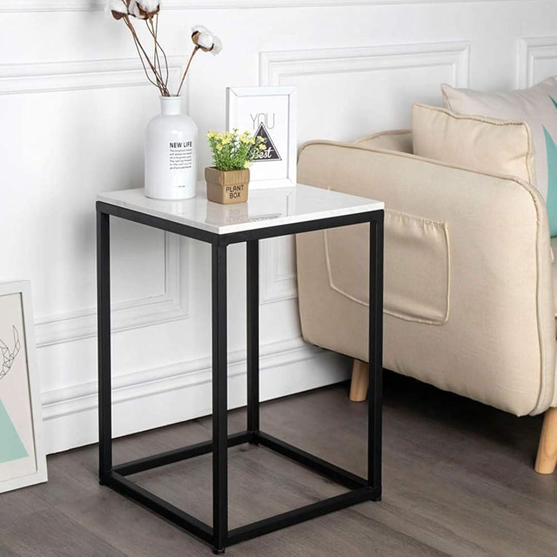 大騒ぎ保全とにかくFULONG スクエアコーヒーテーブルベッドサイドテーブル大理石のカウンタートップ2色オプションのサイズ:40x40x58cm (色 : ブラック)