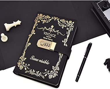 Locking Journal Diary with lock,Password Notebook Vintage Journal with Lock diary A5 Planner organizer for Personal Diary (Bl