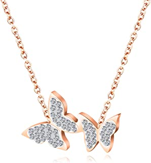 Fashion Girls lady necklace romantic butterfly shape Titanium steel zircon pendant rose gold clavicle chain