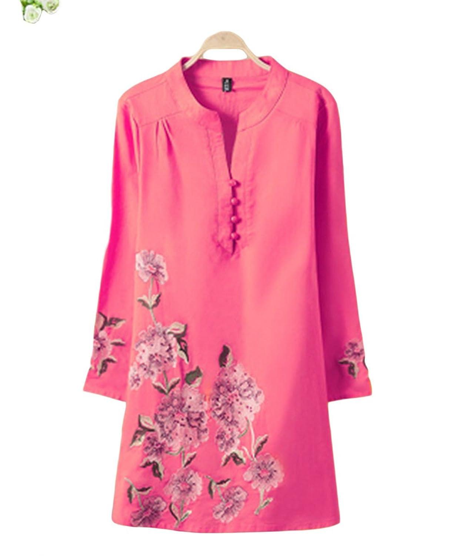 [美しいです] レディース ワンピース 夏 秋 冬 Aライン スリム ひざ丈 綿麻 民族風 ゆったり 刺繍