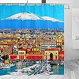 Italia Mount Etna Catania Sicilia Cortina de ducha Viaje Decoración de baño Set con ganchos Poliéster 72x72 pulgadas (YL-03178)