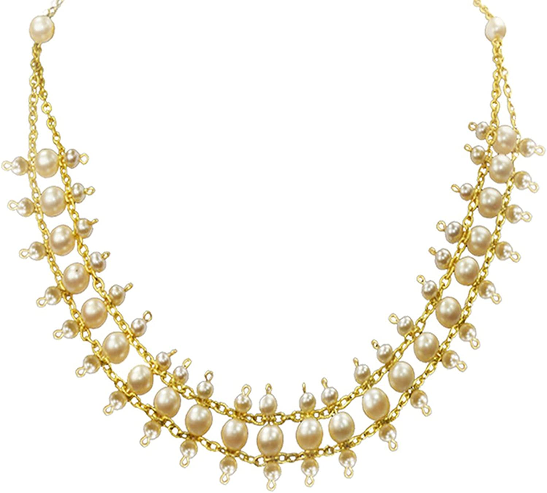 Alzerina Handmade Swarovski Pearls Multilayer Bridal Necklace with 24K gold Plated Details