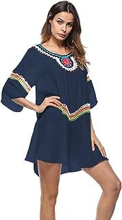Mujer Playa Cubrirlos Tradicional Patrón Transparente Respirable Empalme Camiseta