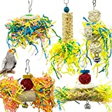 SHANTU Bird Parrots Shredding Toys Parakeet Chewing Toys Parrot Cage Shredder Toys Bird Foraging Hanging Toys Bird Accessories for Cages for Parrots Lovebird Cockatiel Conure African Grey