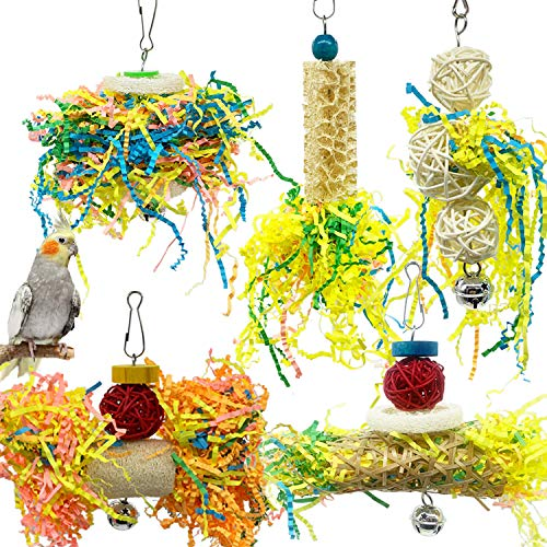 SHANTU Bird Parrots Shredding Toys Parakeet Chewing Toys Bird Loofah Toys Parrot Cage Shredder Toys Bird Foraging Hanging Toys Bird Accessories for Parrots Lovebird Cockatiel Conure African Grey