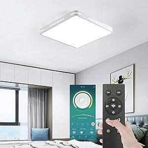 Smart LED Ceiling Light Lamp Dustproof BT Wireless Smart Home APP Remote Control Modern Ultrathin 5x40cm 3 Color Temperatures in One LED Flush Mount Ceiling Light - White 36W Smart LED Ceiling Lamp