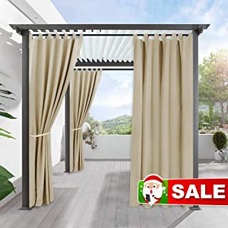 RYB HOME Outdoor Curtain for Patio - Insulated Blackout Curtain Tab Top Privacy Drape Balance Summer Heat & Winter Cold for Pergola Lawn Corridor Pavilion, 1 Piece, 52 x 108 inches Long, Cream Beige